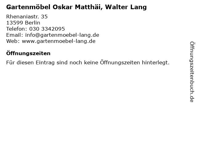 ᐅ öffnungszeiten Gartenmöbel Oskar Matthäi Walter Lang