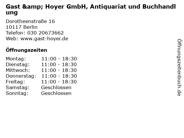 Gast & Hoyer GmbH, Antiquariat und Buchhandlung in Berlin: Adresse und Öffnungszeiten