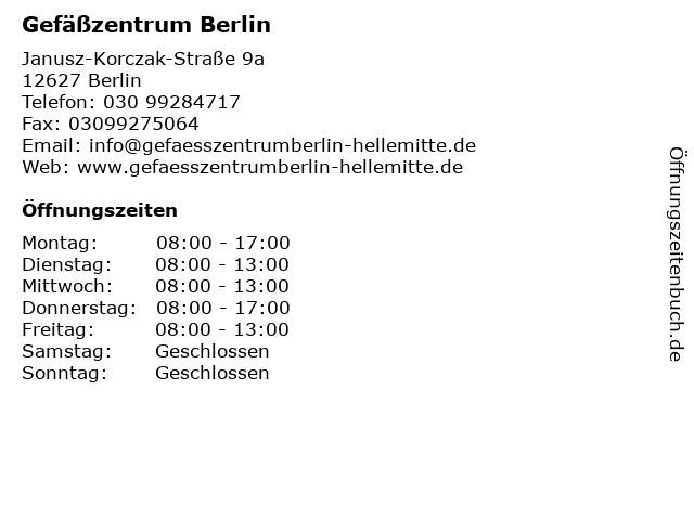 Gefäßzentrum Berlin - Helle Mitte - Dr. med. Matthias Fischer Dr. med. Uwe Sakriß Dr. med. Brigitte Bäsell in Berlin: Adresse und Öffnungszeiten