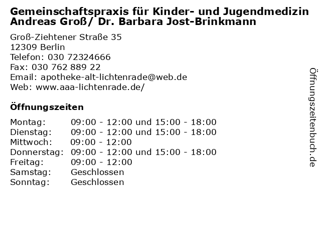 Gemeinschaftspraxis für Kinder- und Jugendmedizin Andreas Groß/ Dr. Barbara Jost-Brinkmann in Berlin: Adresse und Öffnungszeiten