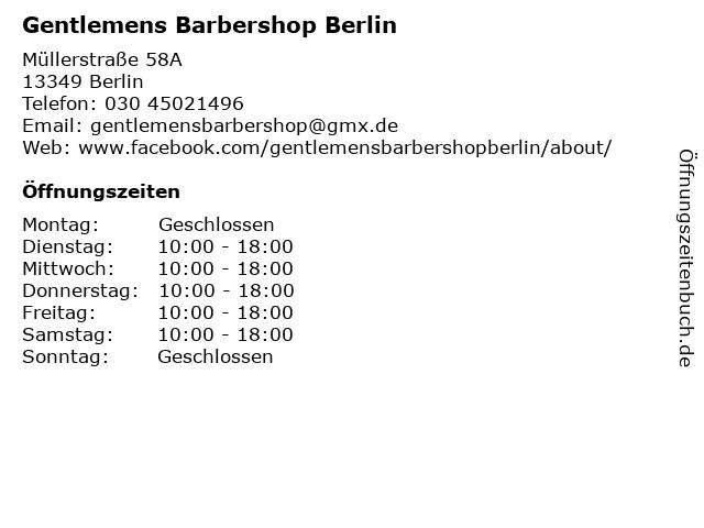 Gentlemens Barbershop Berlin in Berlin: Adresse und Öffnungszeiten