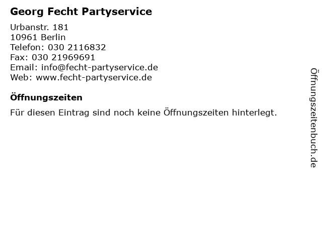 Georg Fecht Partyservice in Berlin: Adresse und Öffnungszeiten