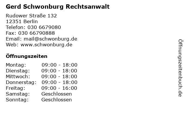 ᐅ öffnungszeiten Gerd Schwonburg Rechtsanwalt Rudower Straße