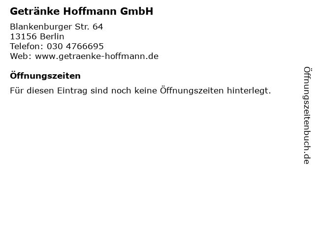 Getränke Hoffmann GmbH in Berlin: Adresse und Öffnungszeiten