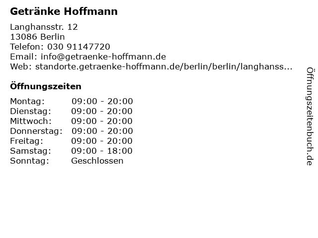 Getränke Hoffmann in Berlin: Adresse und Öffnungszeiten
