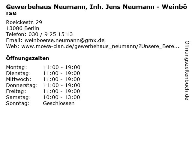 Gewerbehaus Neumann, Inh. Jens Neumann - Weinbörse in Berlin: Adresse und Öffnungszeiten