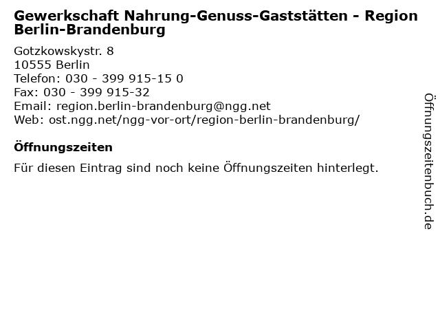 Gewerkschaft Nahrung-Genuss-Gaststätten - Region Berlin-Brandenburg in Berlin: Adresse und Öffnungszeiten