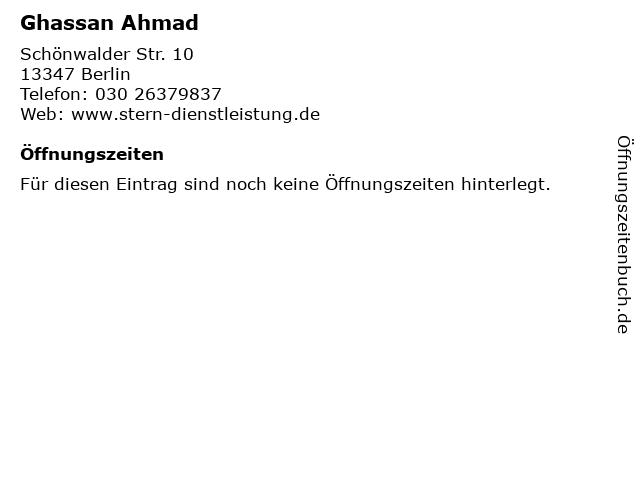Ghassan Ahmad in Berlin: Adresse und Öffnungszeiten