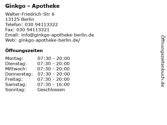 Ginkgo - Apotheke in Berlin: Adresse und Öffnungszeiten