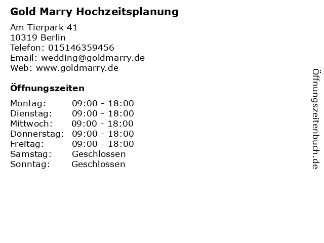 Gold Marry Hochzeitsplanung in Berlin: Adresse und Öffnungszeiten