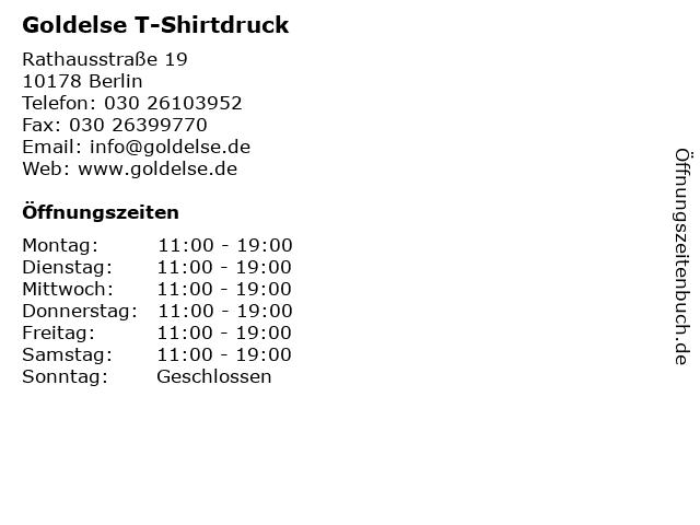 Goldelse T-Shirtdruck in Berlin: Adresse und Öffnungszeiten