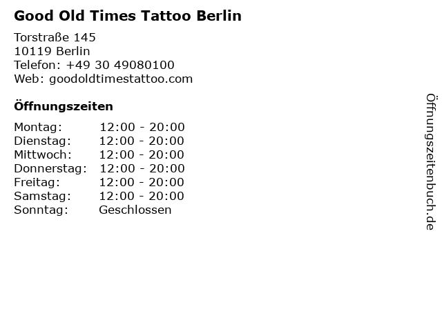 Good Old Times Tattoo Berlin in Berlin: Adresse und Öffnungszeiten