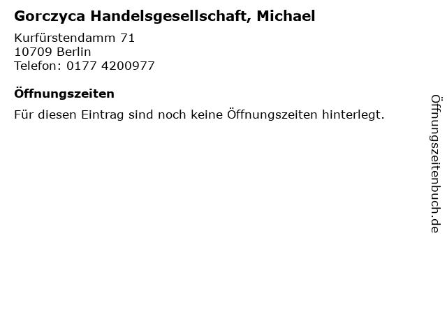 Gorczyca Handelsgesellschaft, Michael in Berlin: Adresse und Öffnungszeiten