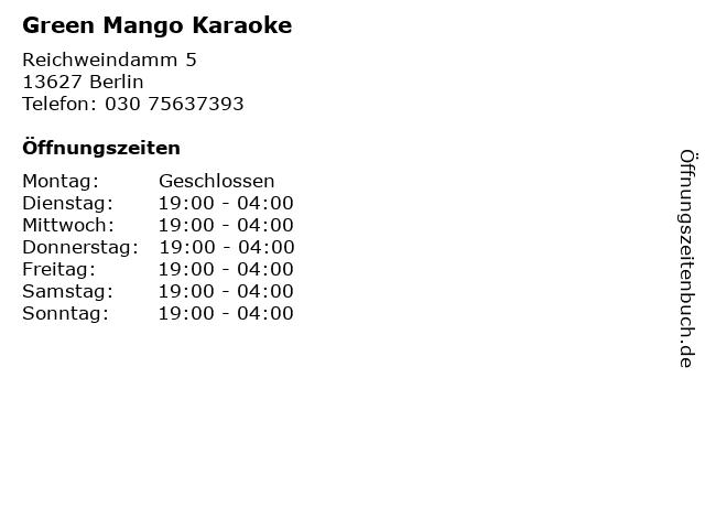 Green Mango Karaoke in Berlin: Adresse und Öffnungszeiten