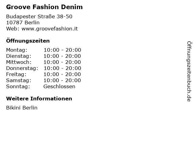 Groove Fashion Denim in Berlin: Adresse und Öffnungszeiten