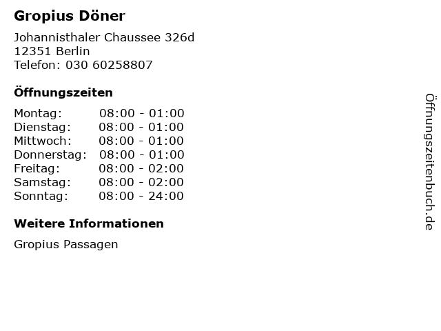 Gropius Döner in Berlin: Adresse und Öffnungszeiten