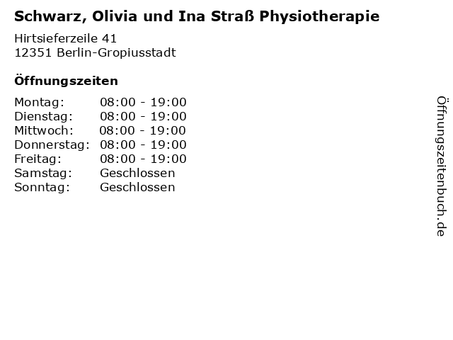 Schwarz, Olivia und Ina Straß Physiotherapie in Berlin-Gropiusstadt: Adresse und Öffnungszeiten