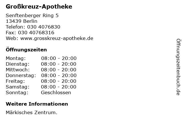Großkreuz-Apotheke in Berlin: Adresse und Öffnungszeiten