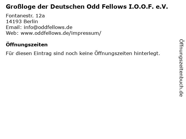 Großloge der Deutschen Odd Fellows I.O.O.F. e.V. in Berlin: Adresse und Öffnungszeiten