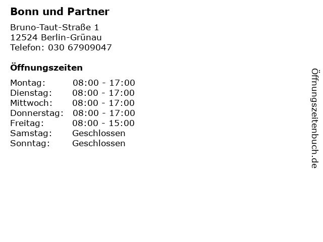 Bonn und Partner in Berlin-Grünau: Adresse und Öffnungszeiten
