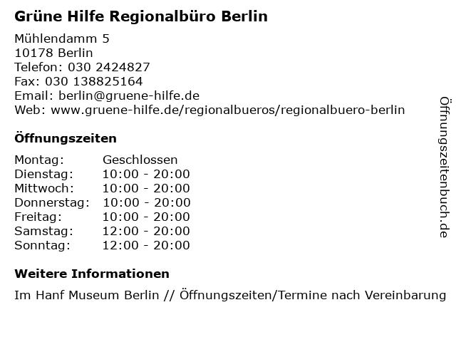 Grüne Hilfe Regionalbüro Berlin in Berlin: Adresse und Öffnungszeiten