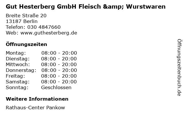 Gut Hesterberg GmbH Fleisch & Wurstwaren in Berlin: Adresse und Öffnungszeiten