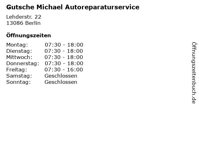Gutsche Michael Autoreparaturservice in Berlin: Adresse und Öffnungszeiten