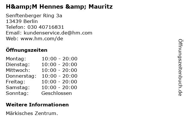 H&M Hennes & Mauritz in Berlin: Adresse und Öffnungszeiten