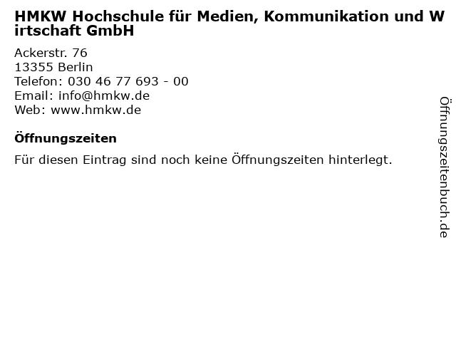 HMKW Hochschule für Medien, Kommunikation und Wirtschaft GmbH in Berlin: Adresse und Öffnungszeiten