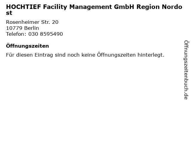 HOCHTIEF Facility Management GmbH Region Nordost in Berlin: Adresse und Öffnungszeiten