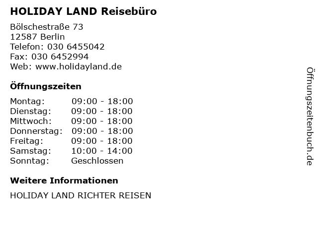 HOLIDAY LAND Reisebüro in Berlin: Adresse und Öffnungszeiten
