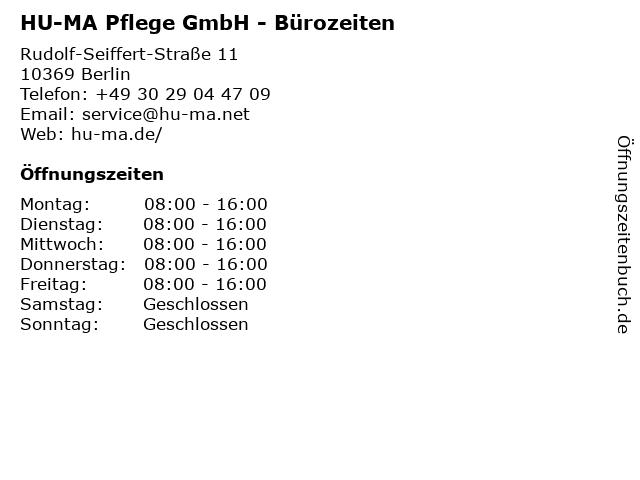 HU-MA Pflege GmbH - Bürozeiten in Berlin: Adresse und Öffnungszeiten