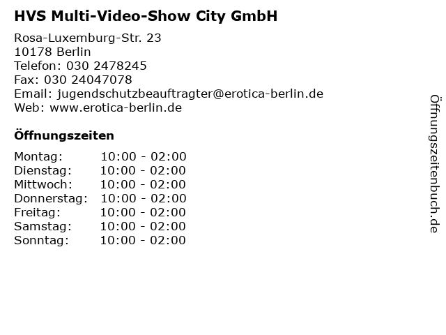 HVS Multi-Video-Show City GmbH in Berlin: Adresse und Öffnungszeiten
