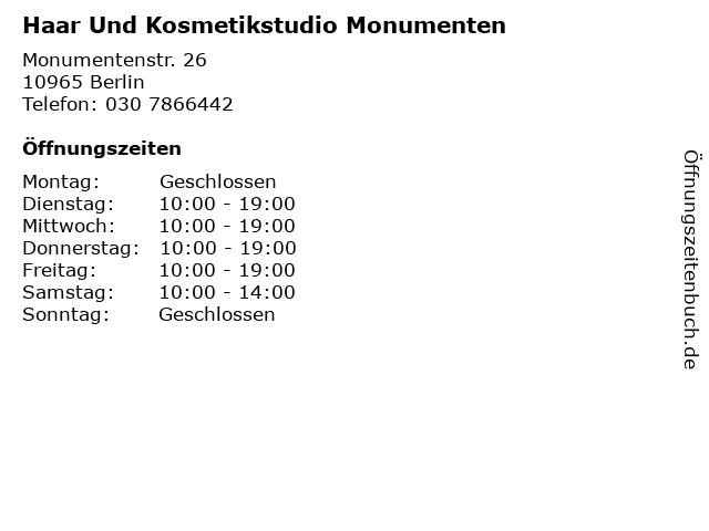 Haar Und Kosmetikstudio Monumenten in Berlin: Adresse und Öffnungszeiten