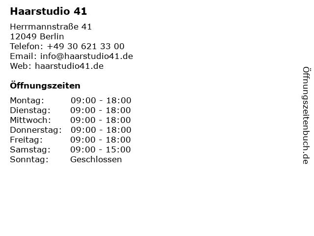 Haarstudio 41 in Berlin: Adresse und Öffnungszeiten