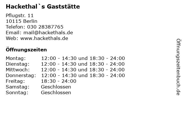 ᐅ öffnungszeiten Hackethals Gaststätte Pflugstr 11 In Berlin