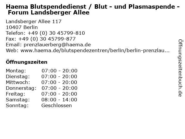 Haema Blutspendedienst / Blut - und Plasmaspende - Forum Landsberger Allee in Berlin: Adresse und Öffnungszeiten