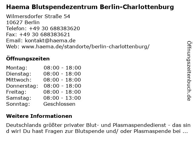 Haema Blutspendezentrum Berlin-Charlottenburg in Berlin: Adresse und Öffnungszeiten