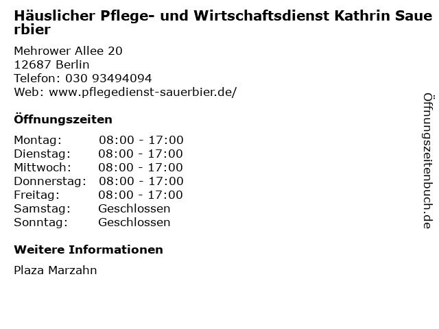 Häuslicher Pflege- und Wirtschaftsdienst Kathrin Sauerbier in Berlin: Adresse und Öffnungszeiten