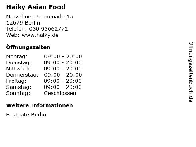 Haiky Asian Food in Berlin: Adresse und Öffnungszeiten