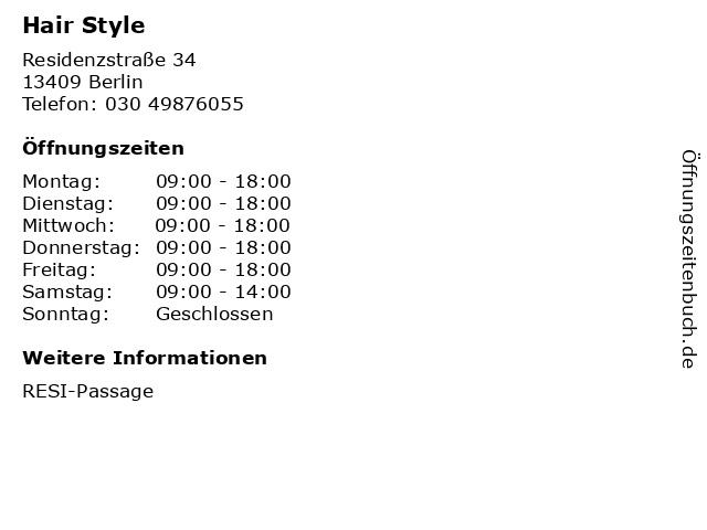 Hair Style in Berlin: Adresse und Öffnungszeiten