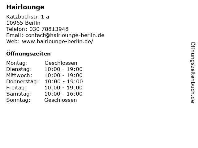 Hairlounge in Berlin: Adresse und Öffnungszeiten