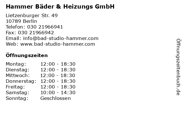 Hammer Bäder & Heizungs GmbH in Berlin: Adresse und Öffnungszeiten