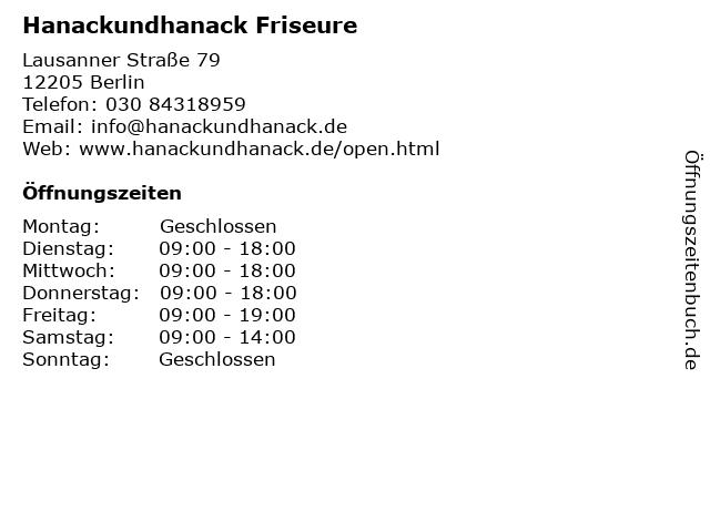 Hanackundhanack Friseure in Berlin: Adresse und Öffnungszeiten
