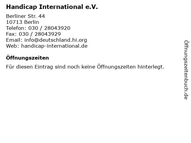 Handicap International e.V. in Berlin: Adresse und Öffnungszeiten