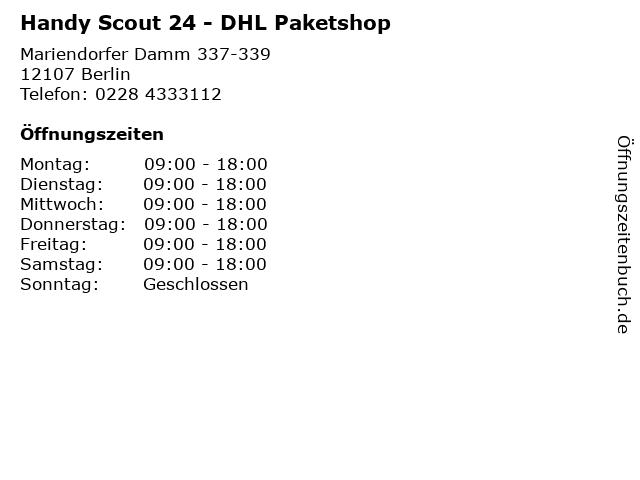 Handy Scout 24 - DHL Paketshop in Berlin: Adresse und Öffnungszeiten