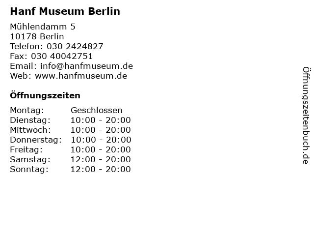 Hanf Museum Berlin in Berlin: Adresse und Öffnungszeiten
