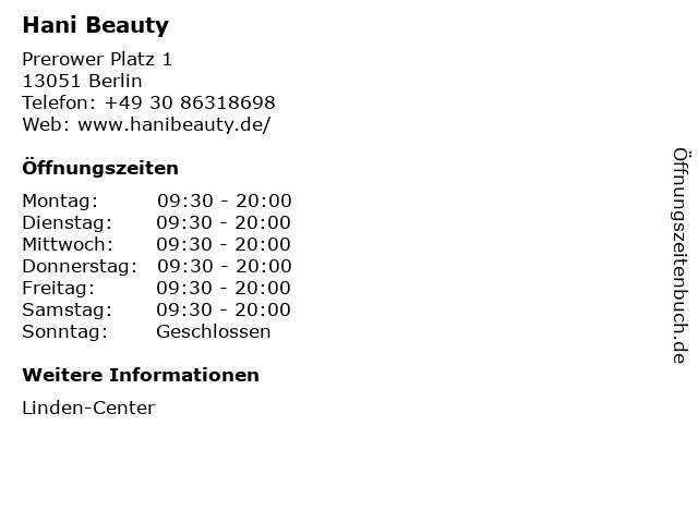 Hani Beauty in Berlin: Adresse und Öffnungszeiten