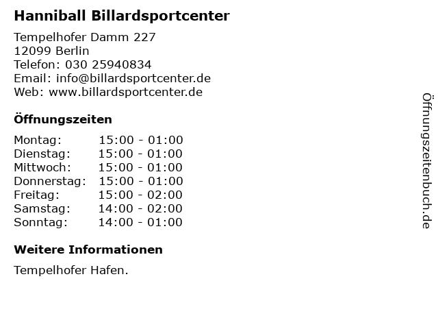 Hanniball Billardsportcenter in Berlin: Adresse und Öffnungszeiten