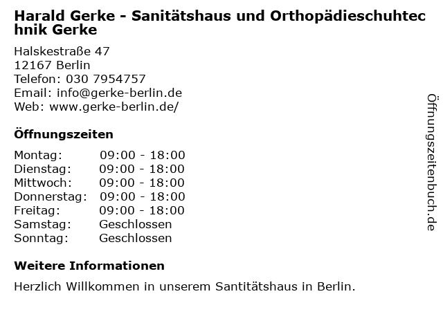 Orthopädie-Schuhtechnik und Sanitätshaus Gerke in Berlin: Adresse und Öffnungszeiten